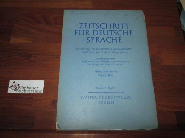 Zeitschrift für Deutsche Sprache. Band 21, Heft 3 *Signiert*