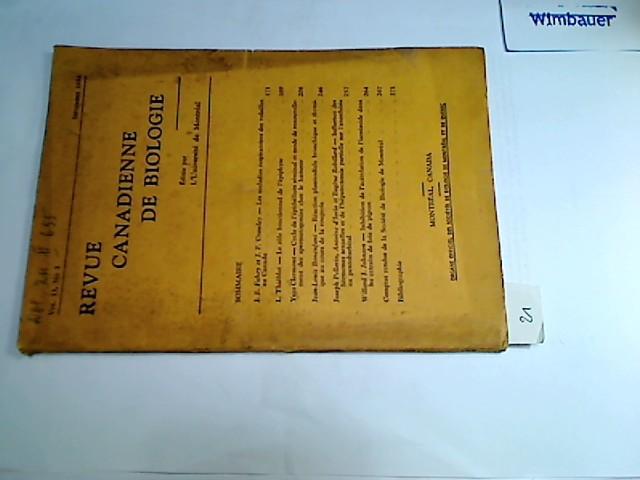 Revue Canadienne De Biologie Volume 13, No 3, Septembre 1954