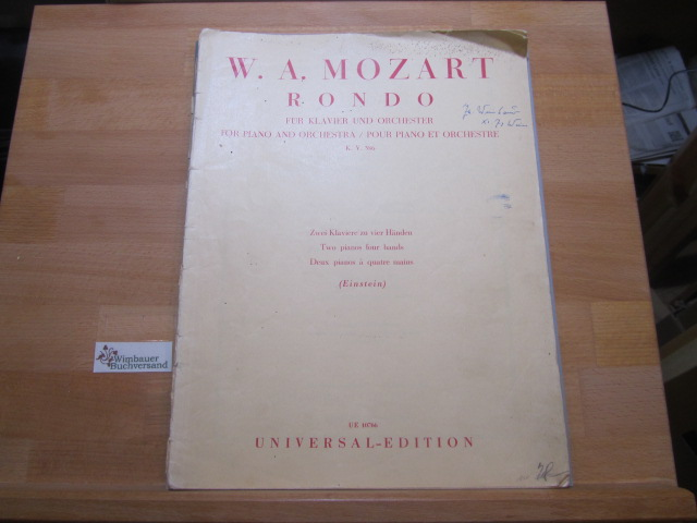 Mozart, Wolfgang Amadeus : Rondo für Klavier und Orchester. Zwei Klaviere zu vier Händen