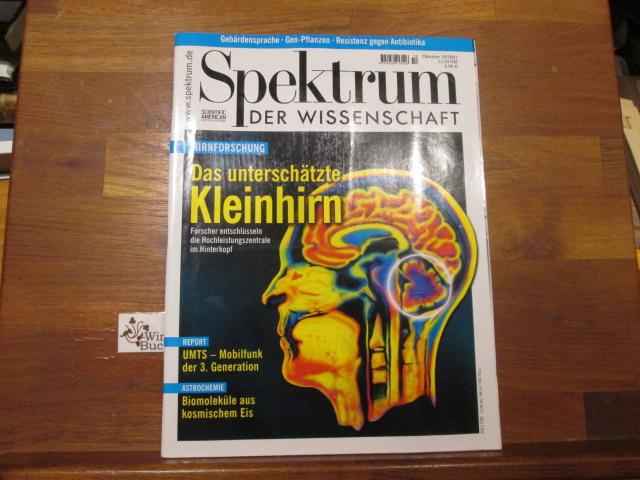 Spektrum der Wissenschaft ; Oktober 10/2001 Das unterschätzte Kleinhirn, UMTS, Biomoleküle aus kosmischen Eis
