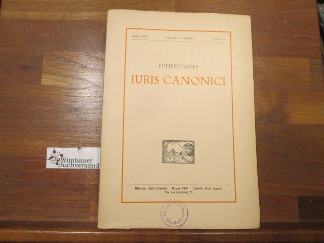 Fedele, Pius : Ephemerides Iuris Canonici, periodicum trimestre, annus XXIV num. 3-4, 1968