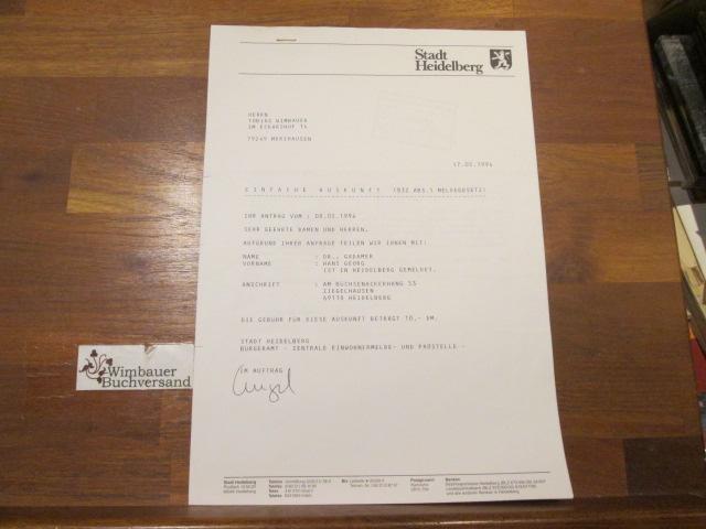 Auskunft der Stadt Heidelberg zur Adresse von Hans Georg Gadamer, 1994