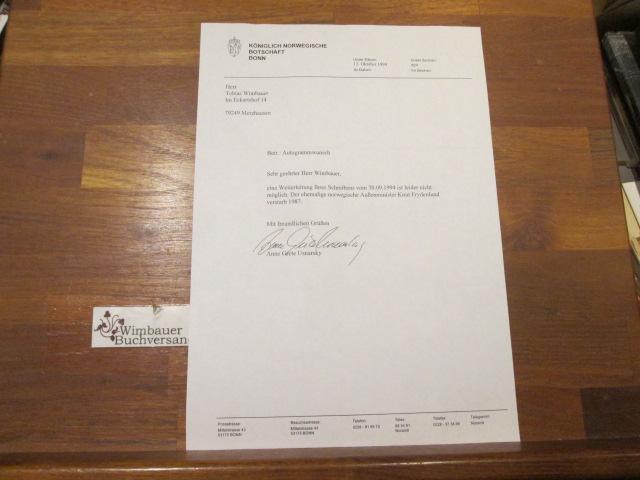 Brief der Königlichen Norwegischen Botschaft Bonn