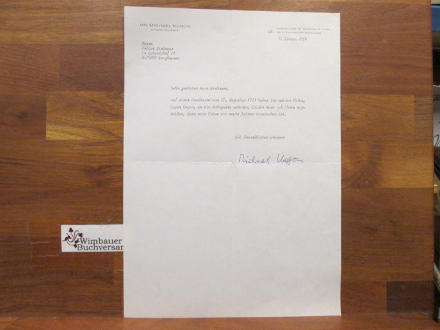Signierter Brief /// Übersetzer von Stephane Hessel, Sohn von Eugen Kogon