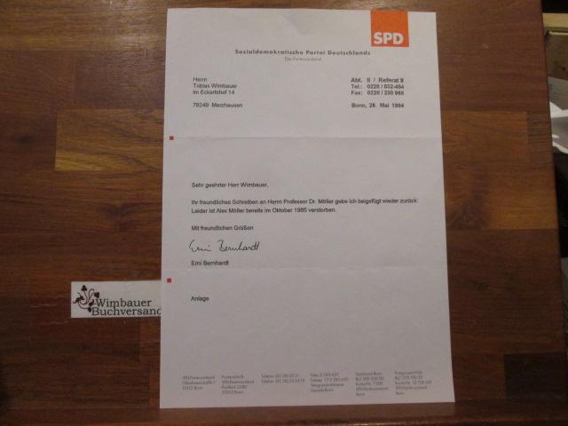Brief des SPD Parteivorstands Sachen Autogramm Alex Möller
