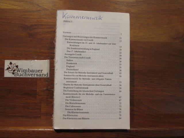 Reclams Kammermusikführer. hrsg. von Arnold Werner-Jensen. Unter Mitarb. von Ludwig Finscher ... / Reclams Universal-Bibliothek ; Nr. 8001 11., durchges. Aufl.