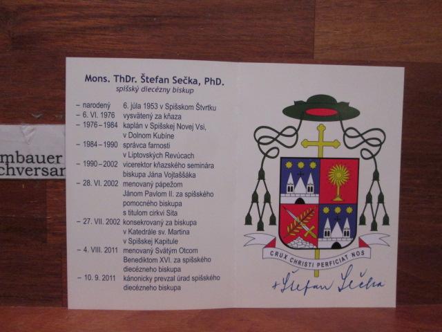 Original Autogramm Stefan Secka Bischof von Spis /// Autogramm Autograph signiert signed signee