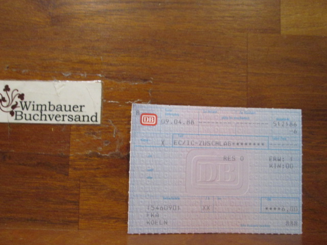 Originalfahrkarte EC IC Zuschlag 1988