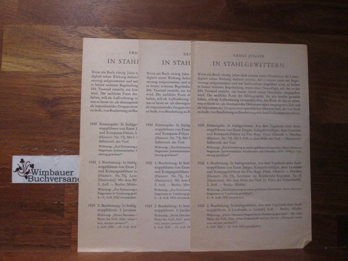 """Infoblatt """"Ernst Jünger In Stahlgewittern"""""""