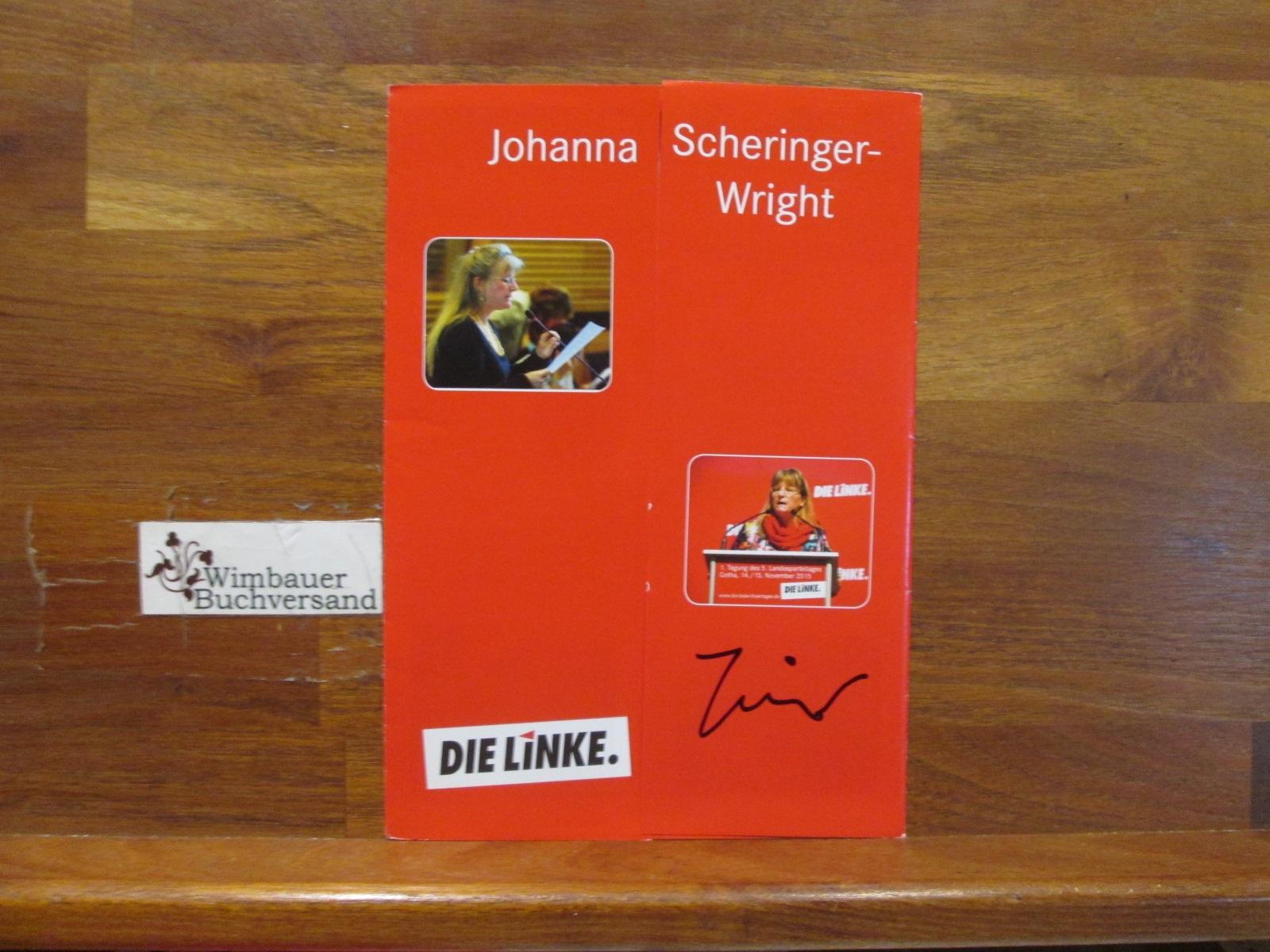 Original Autogramm Johanna Scheringer-Wright MdL Die Linke  /// Autogramm Autograph signiert signed signee
