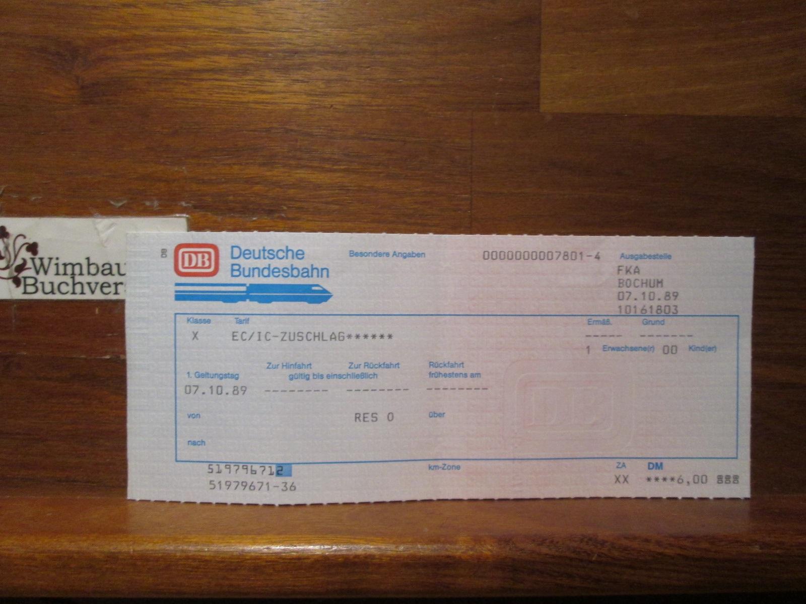 Originalfahrkarte EC IC Zuschlag 07.10.1989