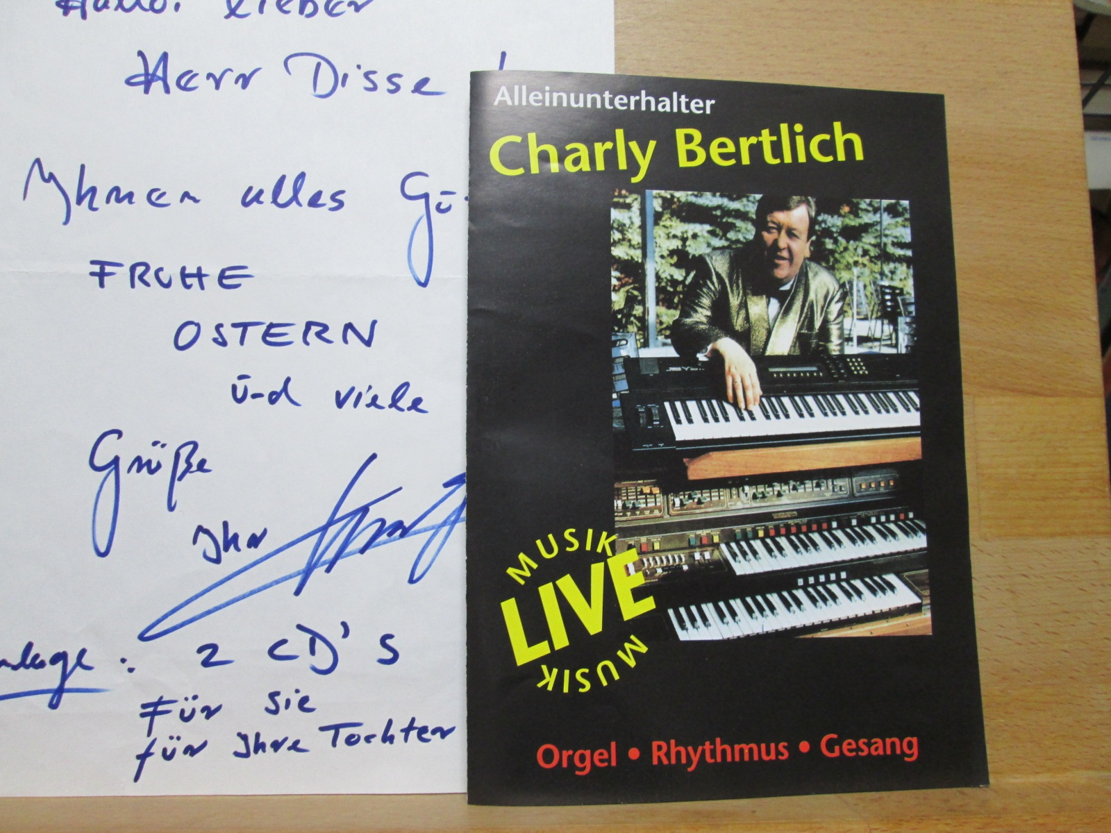 Konvolut Autogramme Charly Bertlich (1945-2001) Todesanzeige etc. /// Autogramm Autograph signiert signed signee