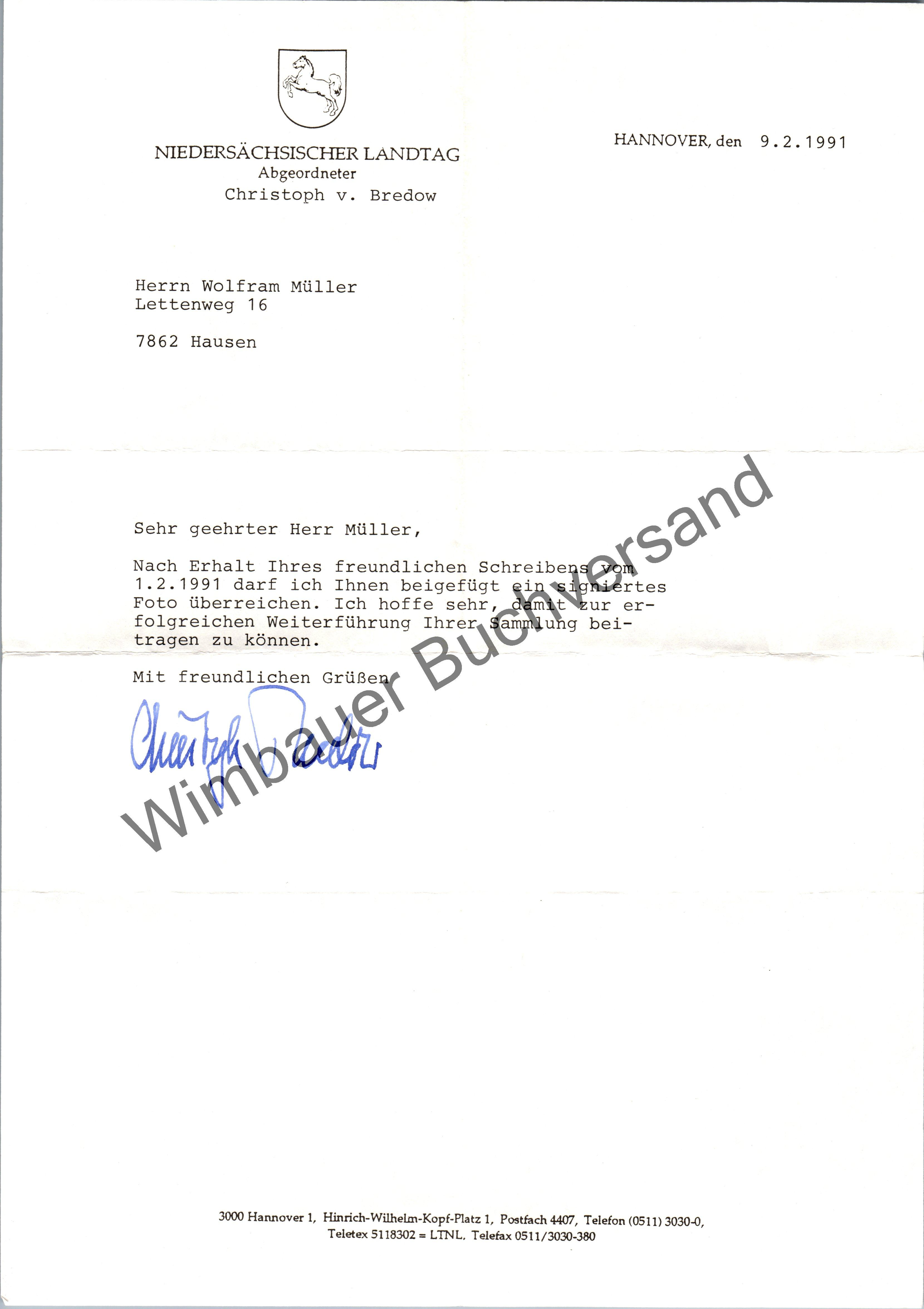 Bredow, Christoph von : Original Autogramm Christoph von Bredow MdL Niedersachsen /// Autogramm Autograph signiert signed signee