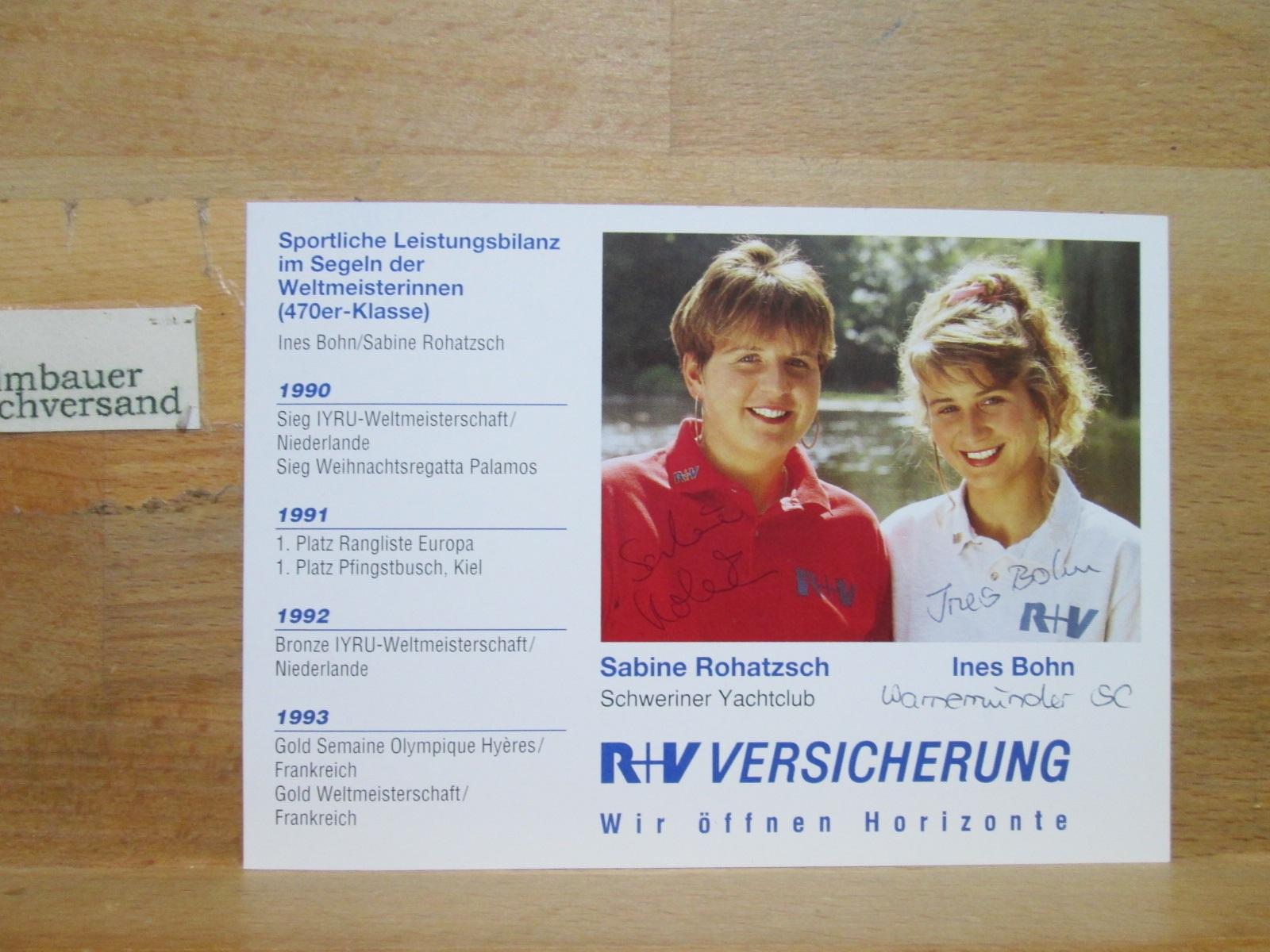 Original Autogramm Sabine Rohatzsch + Ines Bohn Segeln /// Autogramm Autograph signiert signed signee
