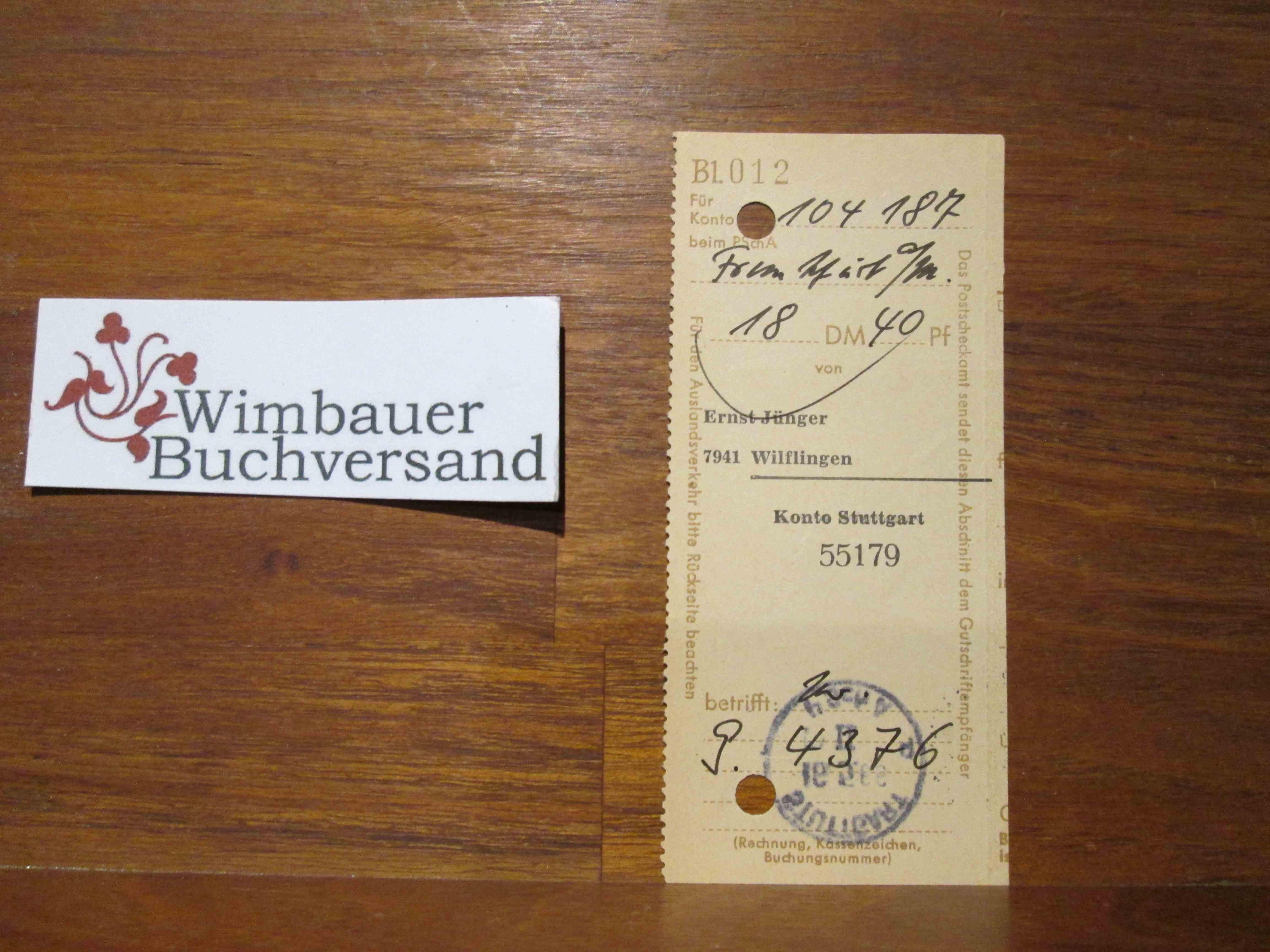Autograph: Original Postscheckkontoabschnitt von Ernst Jünger /// Autogramm Autograph