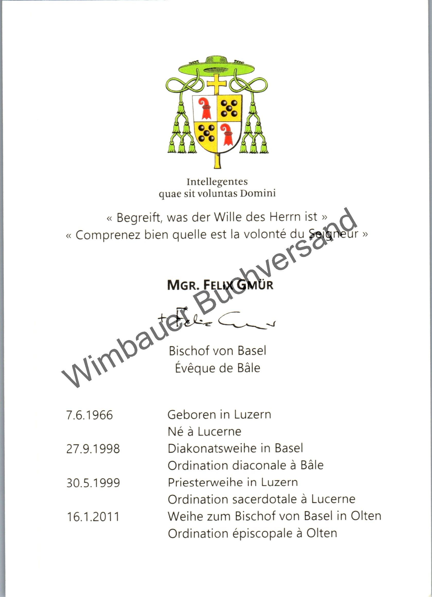 Autogrammkarte Felix Gmür /// Bischof von Basel