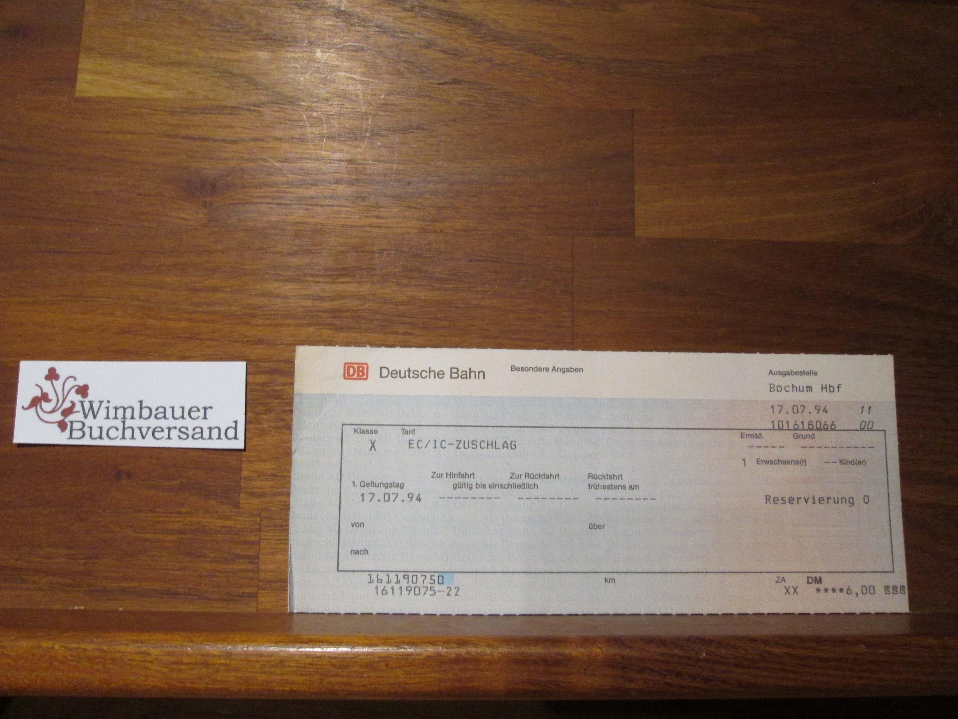 Originalfahrkarte EC IC Zuschlag 1994