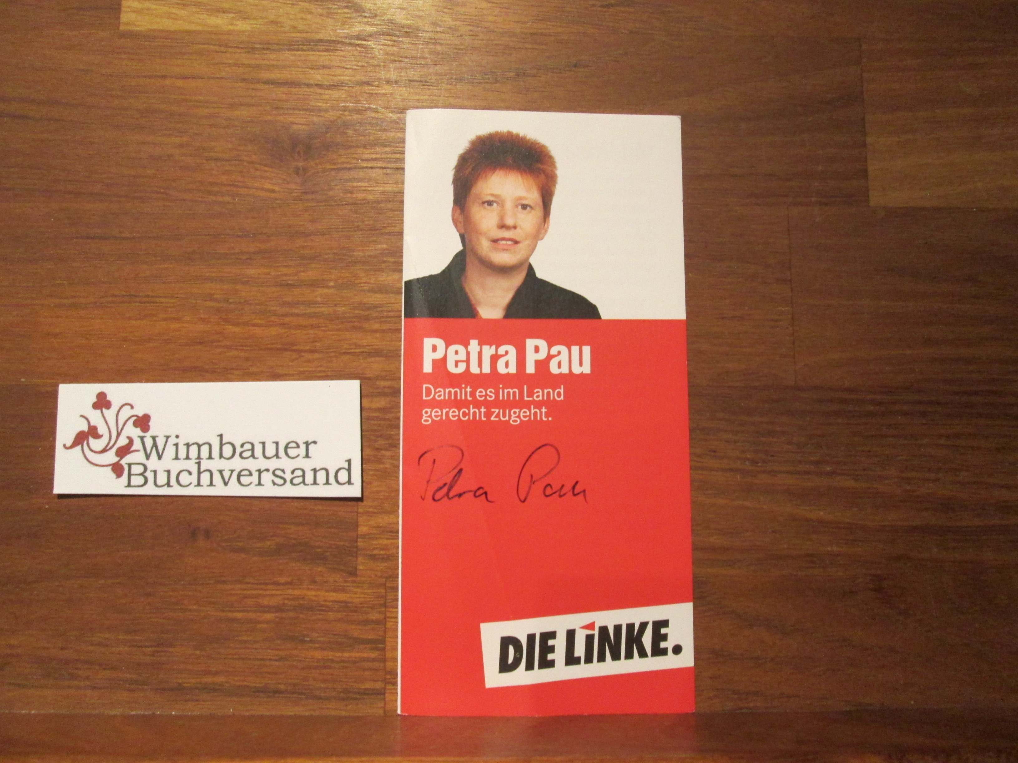 Signierter Prospekt Petra Pau Vizepräsidentin Deutscher Bundestag Autogramm Autograph signiert signed signee
