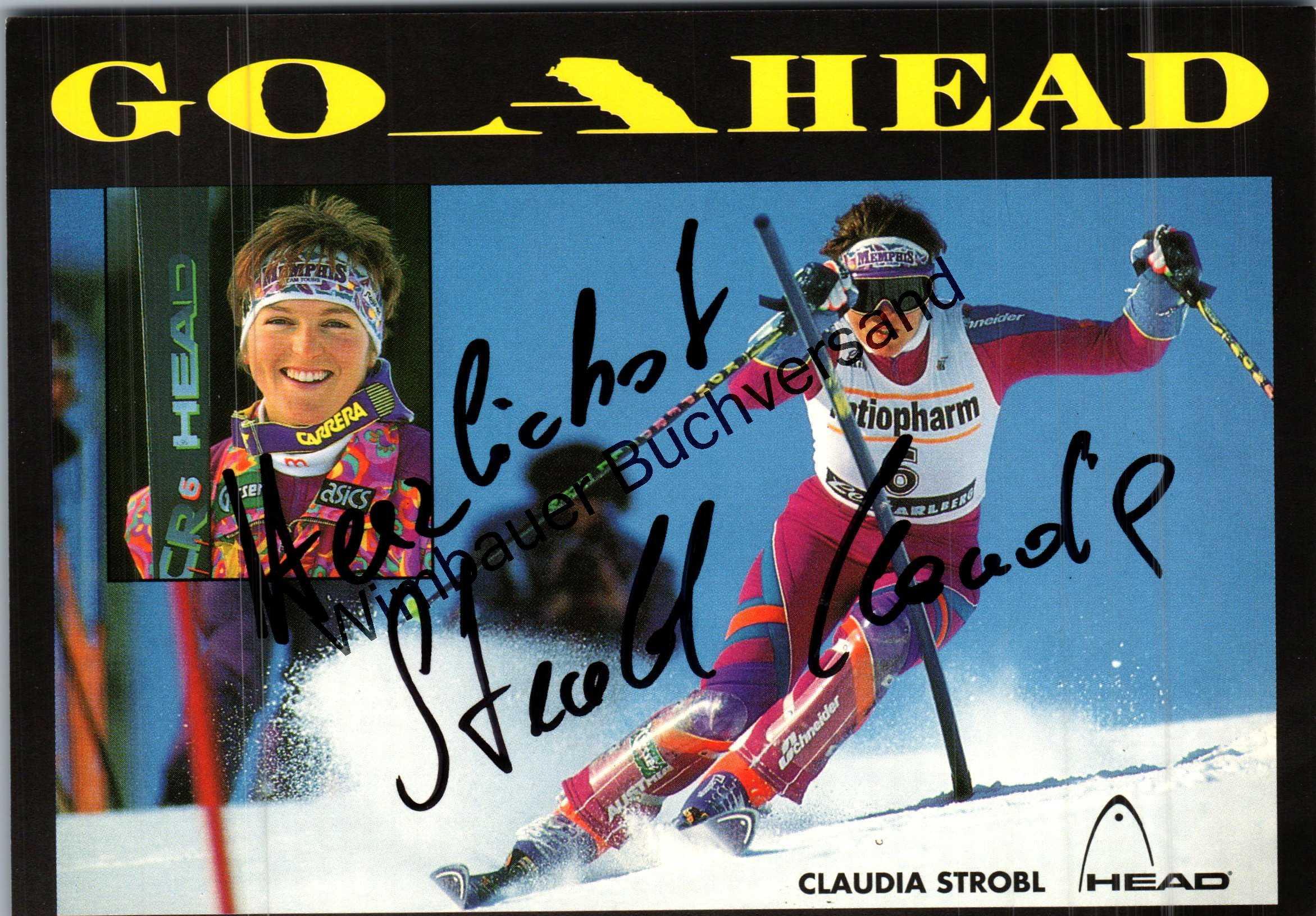 Original Autogramm Claudia Strobl Ski /// Autograph signiert signed signee