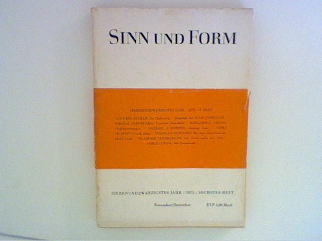 Girnus, Wilhelm: Sinn und Form - 27. Jahr, 1975, Sechstes Heft.