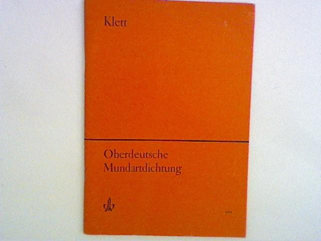 Vogt, Friedrich: Oberdeutsche Mundartdichtung