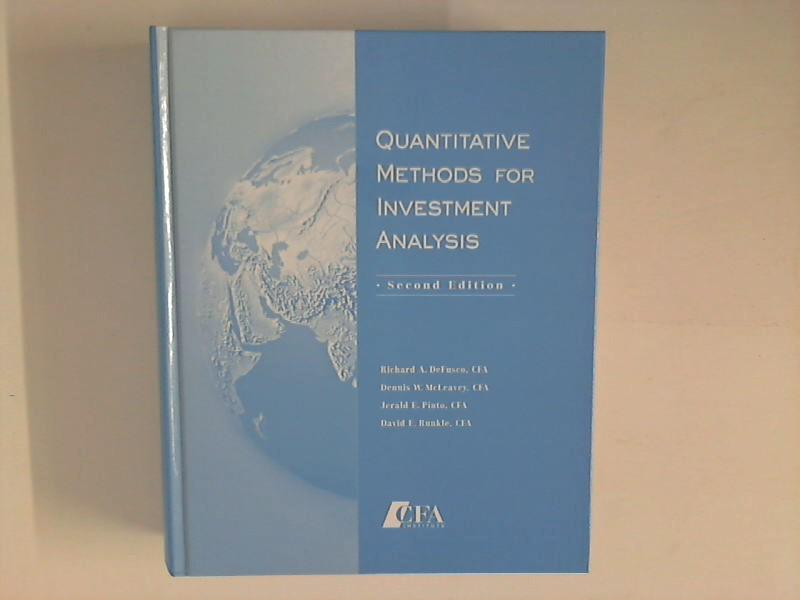 Defusco, Richard Armand: Quantitative Methods For Investment Analysis Auflage: 2