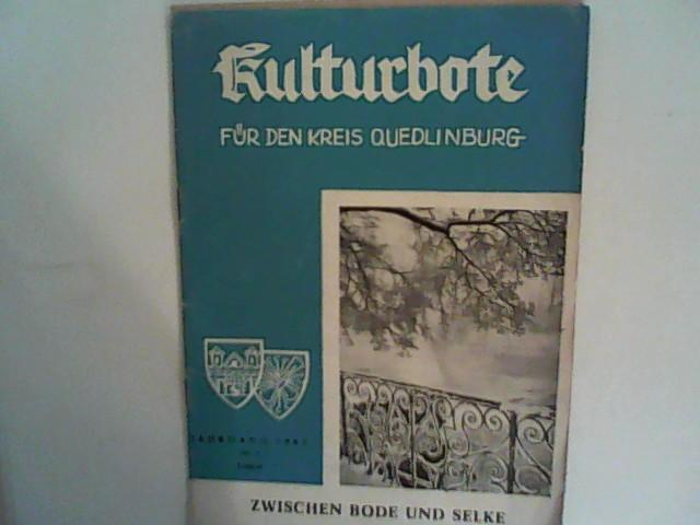 Kulturbote für den Kreis Quedlinburg.  Zwischen Bode und Selke, Jahrgang 1962, Nr. 1 Januar mit Monatsprogramm
