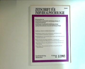 Zeitschrift für Individualpsychologie 18. Jahrgang, Heft 1/1993