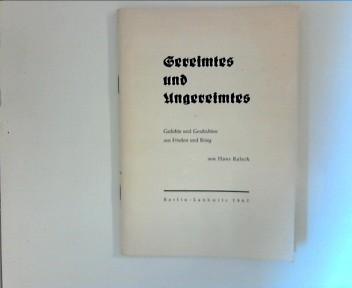 Kaleck, Hans: Gereimtes und Ungereimtes: Gedichte und Geschichten aus Frieden und Krieg