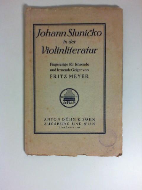 Johann Sluni�ko in der Violinliteratur : Fingerzeige f. lehrende u. lernende Geiger.