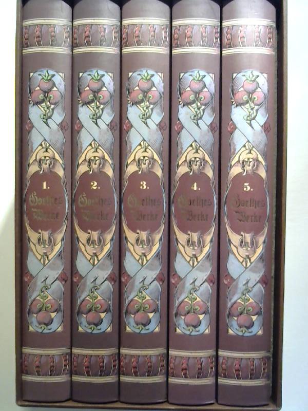 Goethes Werke (5 Bände). 5 Bände im Schuber. Unveränderter Nachdruck der fünften Auflage der Ausgabe der Deutschen Verlags-Anstalt in Stuttgart, ca 1902.