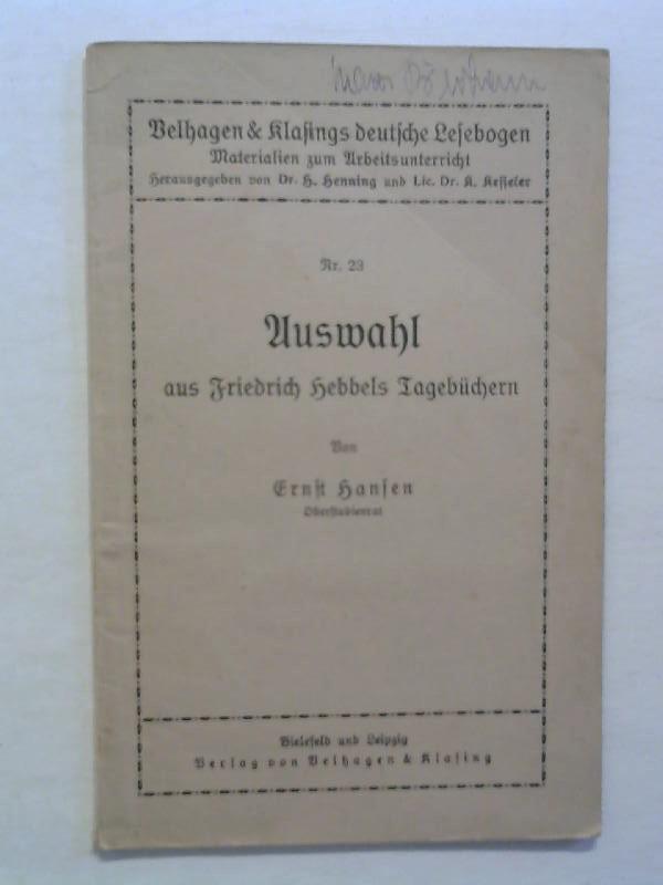 Auswahl aus Friedrich Hebbels TAgebüchern. Nr. 23.