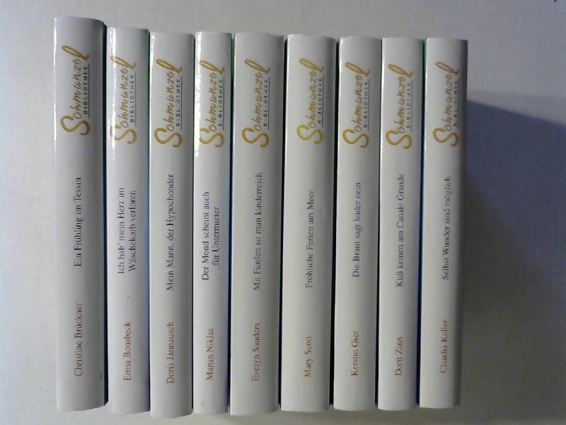 Schmunzel Bibliothek: 9 Bände: Selbst Wunder sind möglich. / Küß keinen am Canale Grande. / Die Braut sagt leider nein. / Ein Frühling im Tessin. / Ich hab mein Herz im Wäschekorb verloren. / Fröhliche Ferien am Meer. / Mit Fünfen ist man kinderreich. / Der Mond scheint auch für Untermieter. / Mein Mann, der Hypochonder. 9 Bände.