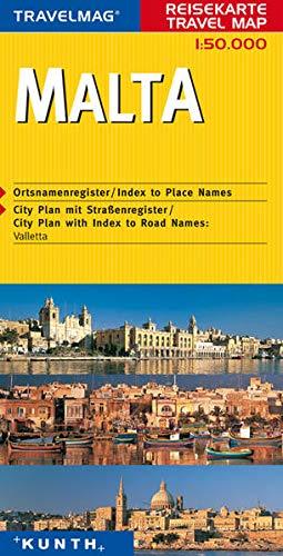 Malta. Mit Ortsnamenregister. City Plan mit Straßenregister: Valletta. 1 : 50.000.