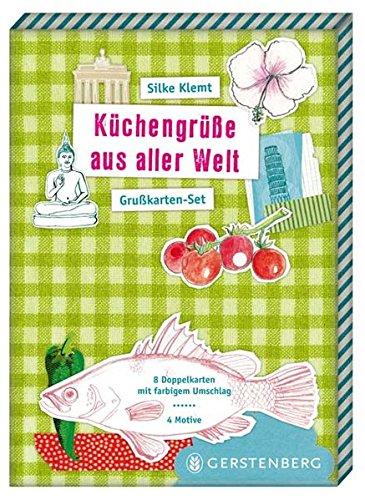 Küchengrüße aus aller Welt Grußkarten-Set. Inhalt: 8 Doppelkarten m. farb. Umschlag. 4 Motive