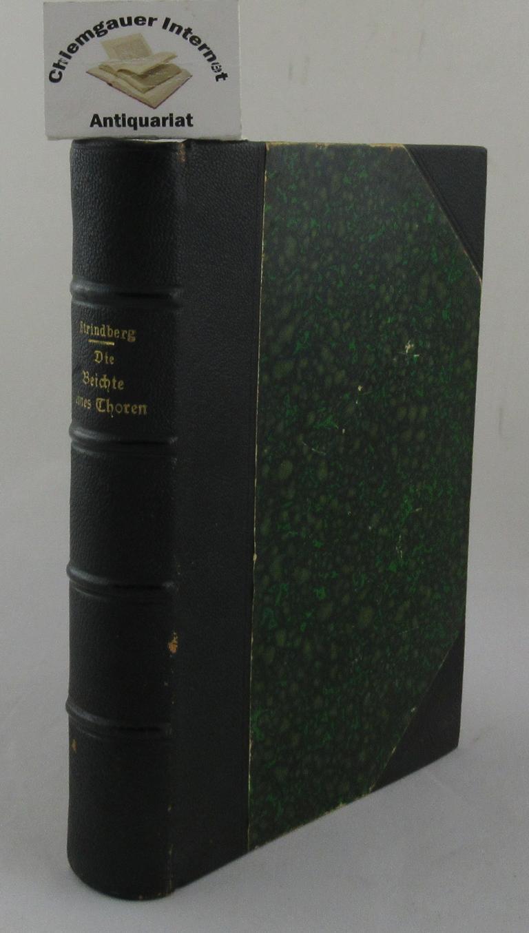 Strindberg, August: Die Beichte eines Thoren. Roman. Zweite Auflage.