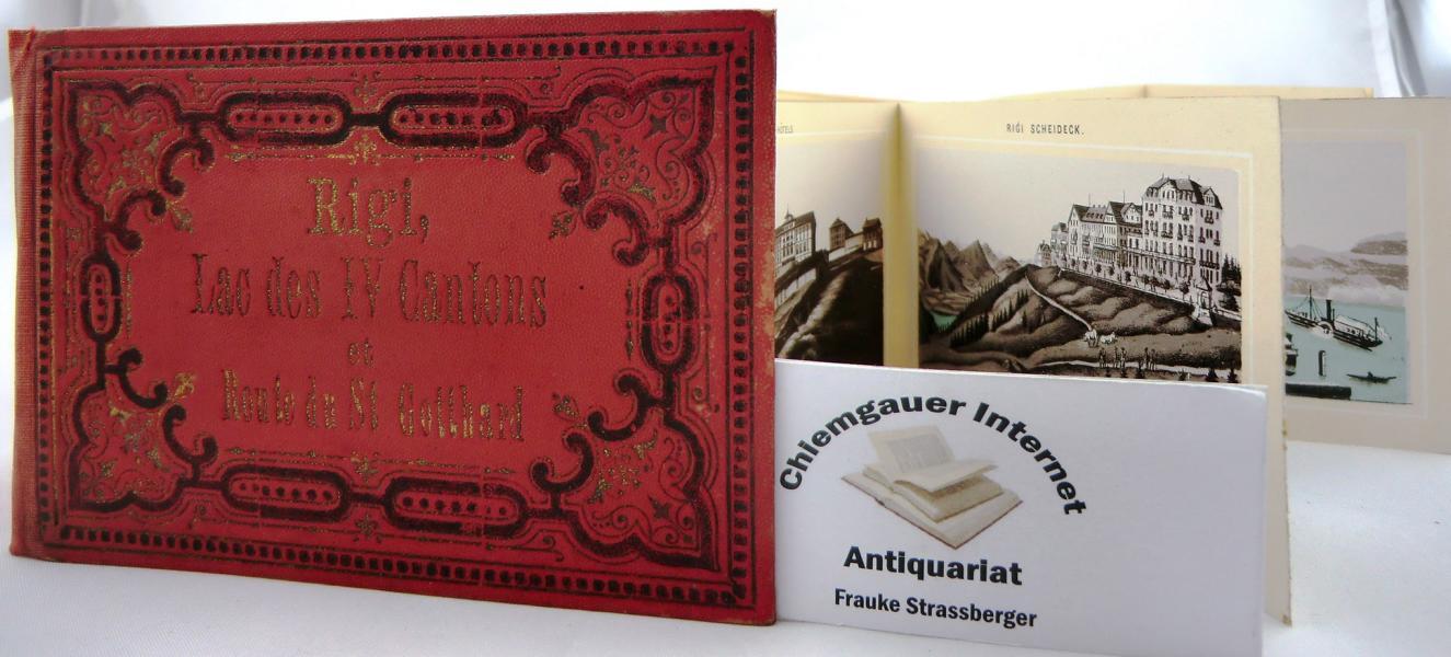 Rigi, Lac Des IV Cantons et Route du St. Gotthard. Album de 36 illustrations tricolores (noir, gris et bleu),  légendées en 2 langues, et contrecollées dans un cartonnage dépliant, couverture en percaline rouge décorée, sur le premier plat. 10.5 x 6 cm.