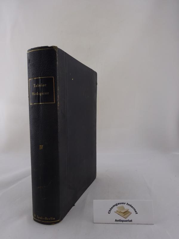 Tabulae biologicae. Band IV . Unter Mitwirkung von 98 Fachgelehrten herausgegeben von C. Oppenheimer und L.Pincussen. ERSTAUSGABE.