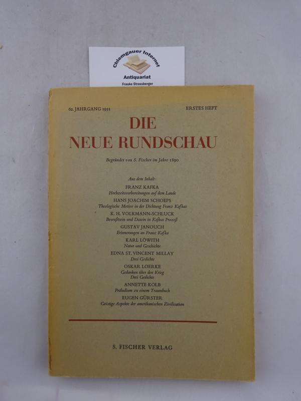 Jahrgang 1951. Erstes Heft. Mit ERSTDRUCK von Franz Kafka: Hochzeitsvorbereitungen auf dem Lande.