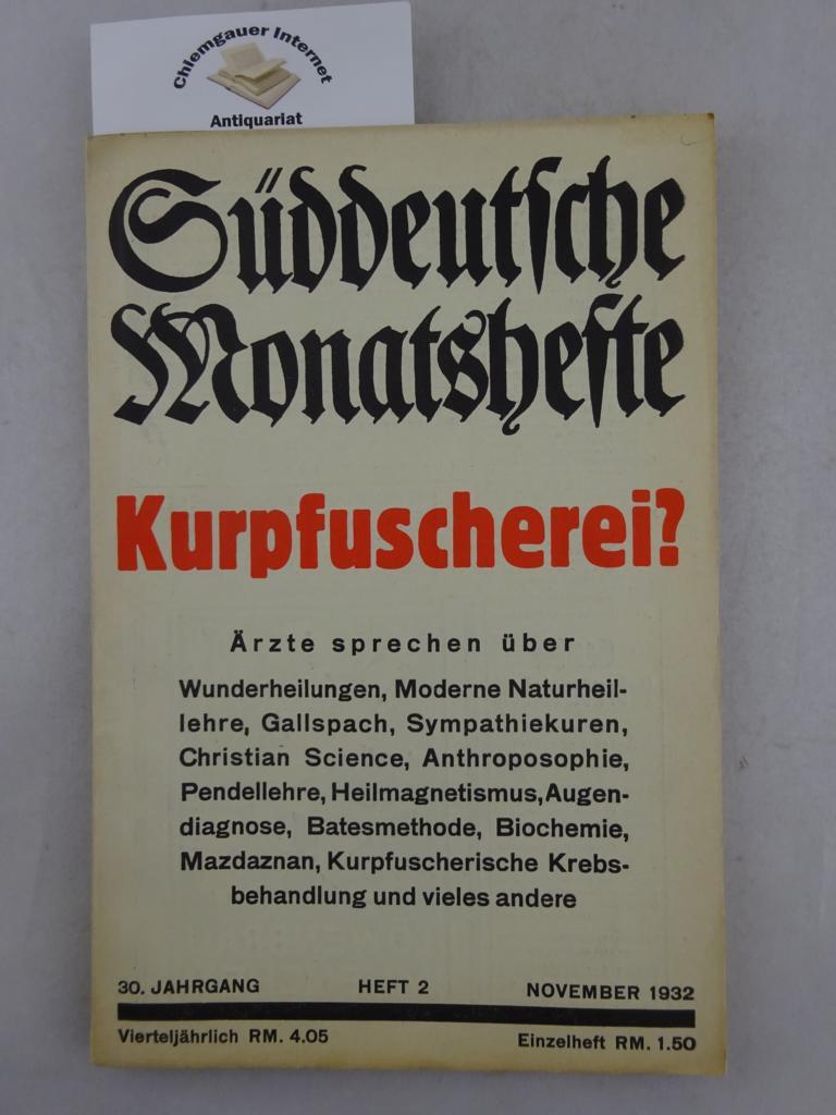 Kurpfuscherei. Süddeutsche Monatshefte. 30. Jahrgang Heft 2, November 1932
