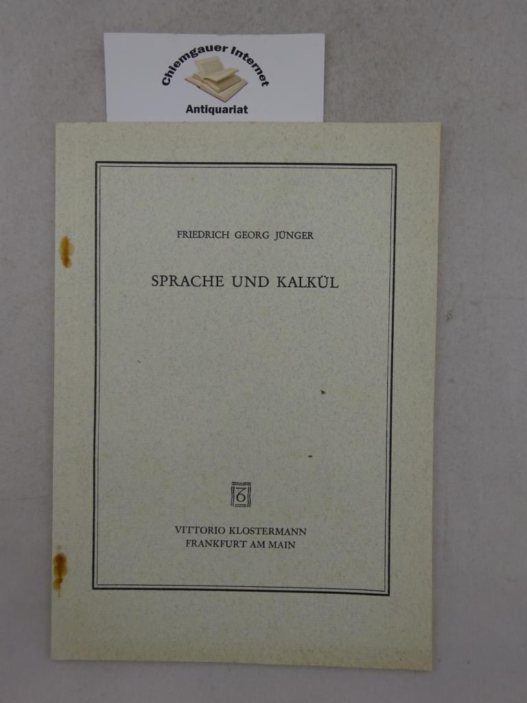 Sprache und Kalkül. Erstausgabe.