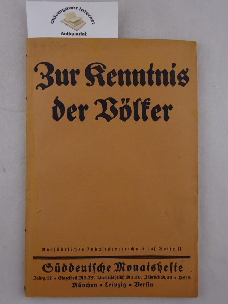 Süddeutsche Monatshefte. 17. Jahrgang, Heft 8: Zur Kenntnis der Völker.