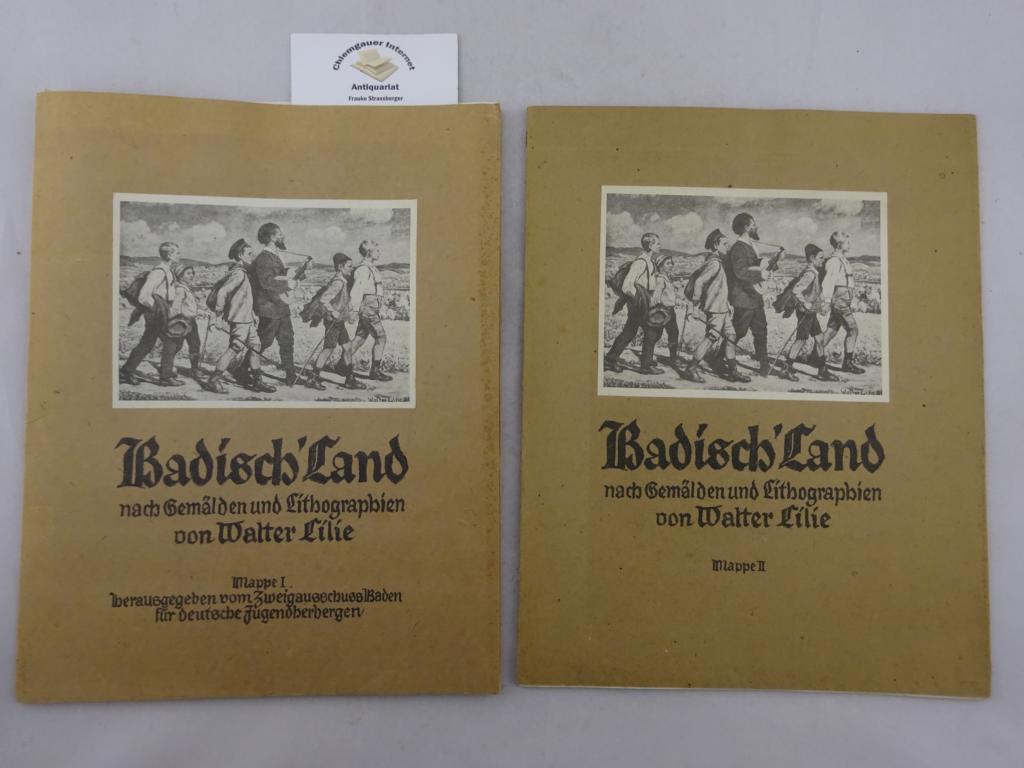 Zweigausschuß Baden für deutsche Jugendherbergen (Hrsg.): Badisch' Land nach Gemälden und Lithographien von Walter Lilie. Mappe I und II. ZWEI (2) Mappen. ERSTAUSGABE.