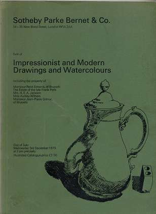 Sale of Impressionist and Modern Drawings and Watercolours , Including the property of Simonis , Perls , ...; Day of Sale Wednesday 3rd December 1975 , illustrated Catalogue , Sotheby Parke Bernet & Co. - London ,
