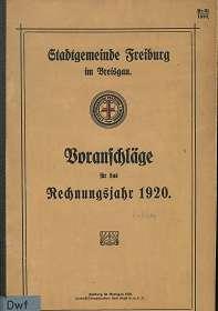 Voranschläge für das Rechnungsjahr 1920 der Stadtgemeinde Freiburg im Breisgau,