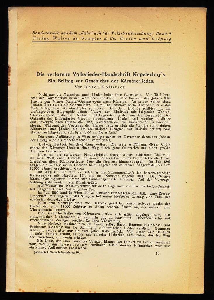 Die verlorene Volkslieder-Handschrift Kopetschny