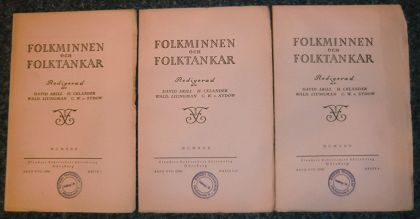 Celander, Hilding [Hrsg.], Herman Geijer und Wald. Liungman: Folkminnen folktankar. Band XVII (1930) , Hefte 1, 2/3 u. 4.