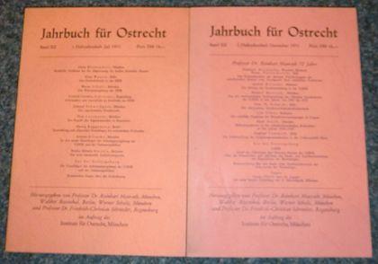 Maurach, Reinhart und Walther Rosenthal: Jahrbuch für Ostrecht. Band XII: Juli 1971 , 1. Halbjahresheft , Band XII: Dezember 1971 , 2. Halbjahresheft (2 Bände).