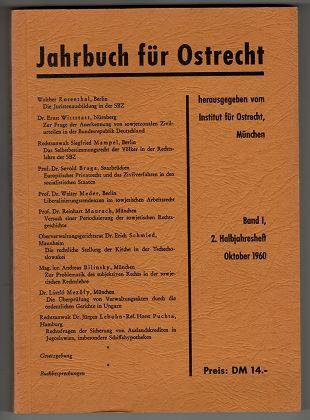 Jahrbuch für Ostrecht. Band I: Oktober 1960 , 2. Halbjahresheft.