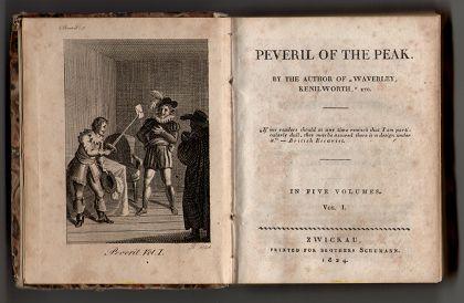 "Peveril of the peak. Vol. I u. II. By the author ""Waverley"", ""Kenilworth,"" etc. [i.e. Sir Walter Scott.]. The works of Sir Walter Scott , Vol. LXVI, Romances LVII ; Vol. LXVII, Romances LVIII."